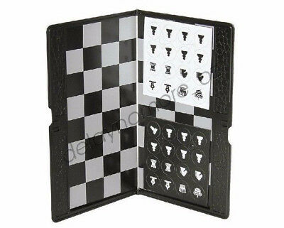 1x Travel Plane Magnetic Folding Chess Set Board Box Game Checkers Pocket Picnic
