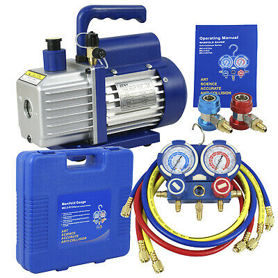 Single Stage 4CFM 1/3HP Vacuum Pump, R134a A/C HVAC Manifold Air Condition Kit
