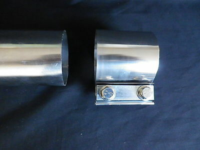 Stainless Exhaust Tubing Straight Band Clamp For 2  Inch Pipes