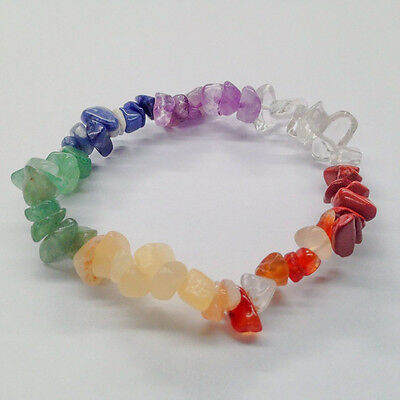 Chakra Gemstone Crystal Bracelet Chip Beads Stretch Meditation Healing