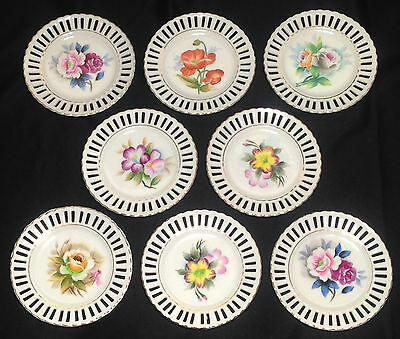 "Set of 8 Hand-Painted 5.2"" Japanese Porcelain Plates, Floral Designs, Scalloped"
