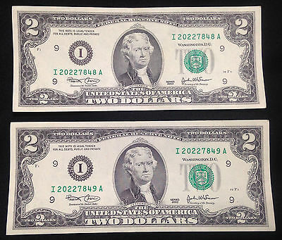 Two Sequential 2003 $2 Two Dollar Bills, One Gem Uncirculated, FRB I Minneapolis