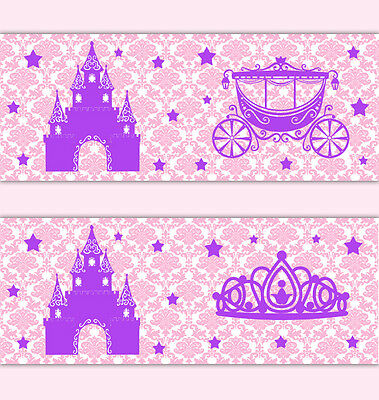 Pink Purple Princess Damask Wallpaper Border Wall Decal Baby Girl Stickers Decor