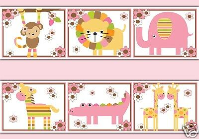 Jungle Animal Wallpaper Border Wall Art Decals Baby Girl Safari Nursery Stickers