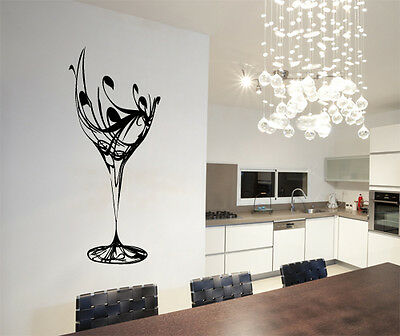 Abstract Wine Glass Wall Art Vinyl Stickers Kitchen Dining Transfer Mural Decals