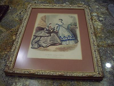 La Mode Illustree Bureaux Journal Paris Framed Colored Fashion Print Victorian A