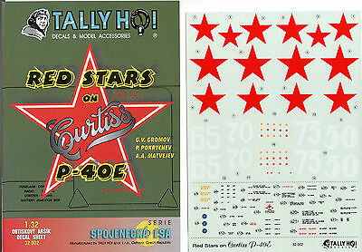 Tally Ho! 32002 - Decals 1/48 Red Stars On Curtiss P-40E