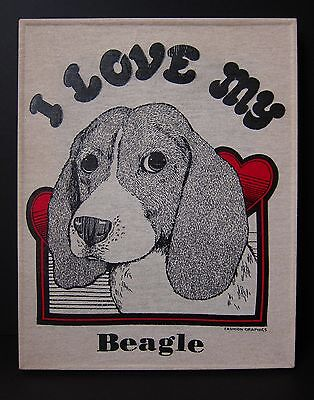 I Love My Beagle T-shirt wall art! Unique art piece created by Upcycling tshirt!