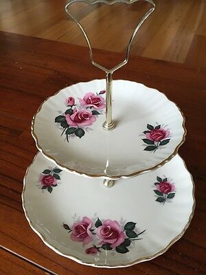 James Kent Old Foley 2 tier cake plate stand With Pink Roses