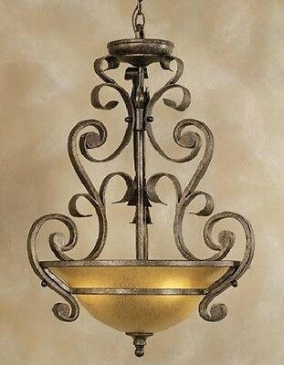 Iron Scroll Quoizel Lighting Hanging Pendant Chandelier Light Foyer Hall Entry
