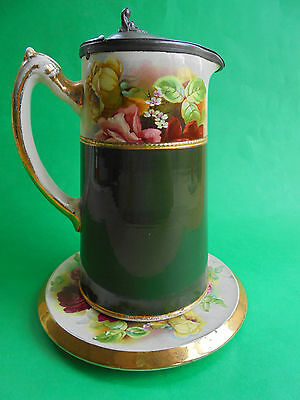 ANTIQUE ENGLISH STAFFORDSHIRE PINK ROSES HOT WATER JUG & STAND c1890 TEA COFFEE