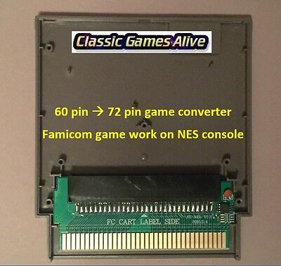 Famicom 60 Pin to NES 72 Pin Adaptor Converter - For NES Game Console (5 COLORS)