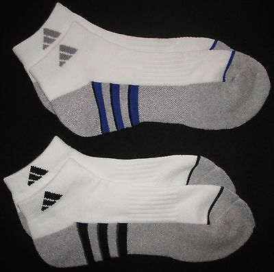 ADIDAS Mens Sports Climalite Socks 2 Twin Pack Ankle Low Cut White Sz 6-12 NEW