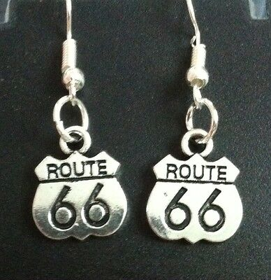 FREESHIP UNIQUE GIFT ROUTE 66 2 Side Earing Harley Davidson Motocycle Lady Rider