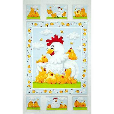 Susybee Pippa & Chicks Quilt Panel * Free Post *  🐓