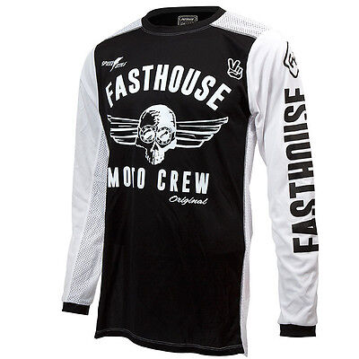 Fasthouse NEW Mx Original Dirt Bike Vintage Black White Vented Motocross Jersey