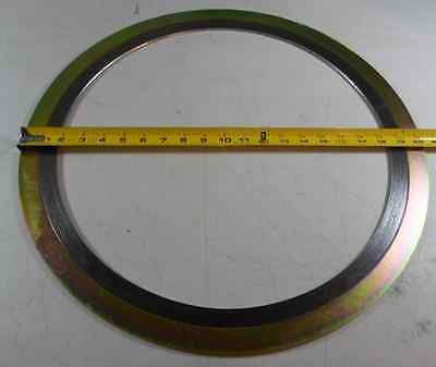 """5) 16"""" Aiflon Spiral Wound Flange Gasket 150# 304 SS/Graphite w/ Outer Ring ASME"""
