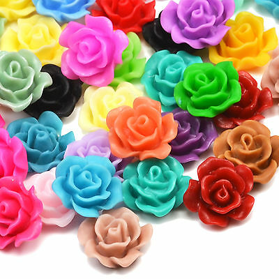 13mm Matte Resin Rose Flower Lucite Cabochons Craft Embellishments. 20 or 50pcs