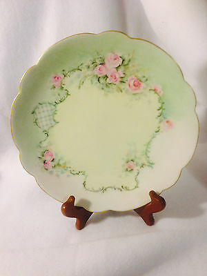 Scalloped HandPainted Floral Green/Yellow Decorative Plate