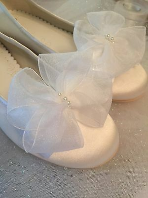 Communion Shoes Clips White Bows that clip to Your Shoes Satin Pearl and Organza