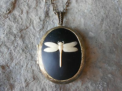 Dragonfly Cameo Locket (On Black) -Antique Bronze, Vintage Look, Quality