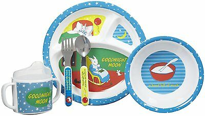 GOODNIGHT MOON 5 Piece Melamine Dish Set- Plate, Bowl Sippy Cup Fork Spoon
