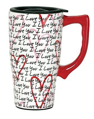 I LOVE YOU Hearts 14 oz. Ceramic Travel Mug w/ Lid, by Spoontiques