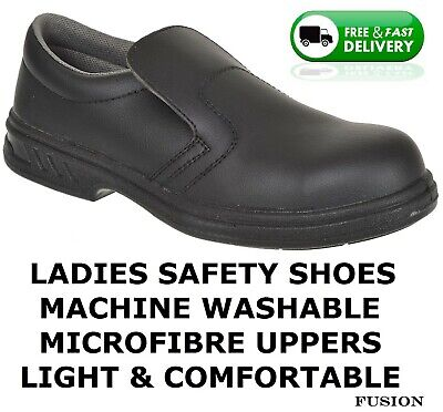 Ladies Safety Shoes,slip On,microfibre Uppers,antislip Sole,safety Steel Toe Cap