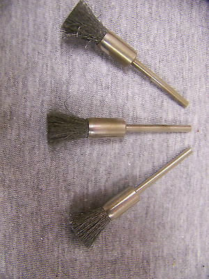 "5/16"" End Brush .005 Carbon - 1/8"" Shank - Qty 3 - FREE SHIPPING  - Made in USA"