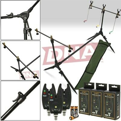 NGT Carp Fishing Rod Pod Set 3 x Black Bite Alarms Indicator Swingers & Rests