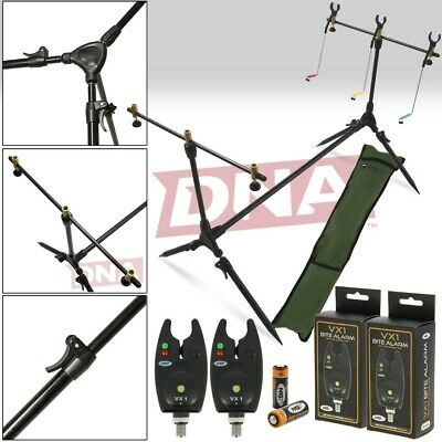 Carp Fishing Rod Pod And Alarm Set With 2 Bite Alarms 3 x Rests & Indicators NGT