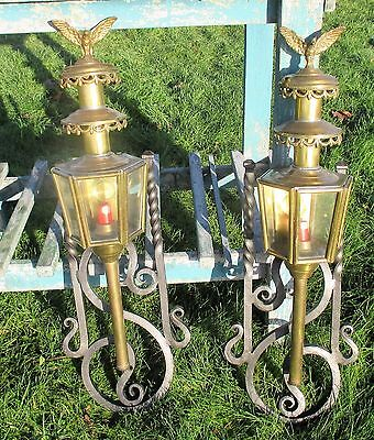 Pair Antique Brass Carriage Coach Mounted  Wall Lamps Eagles Wrought Iron
