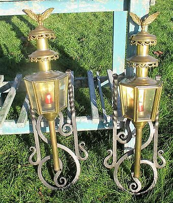 Pair Couple Antique Brass Carriage Coach Mounted  Wall Lamps Eagles Wrought Iron