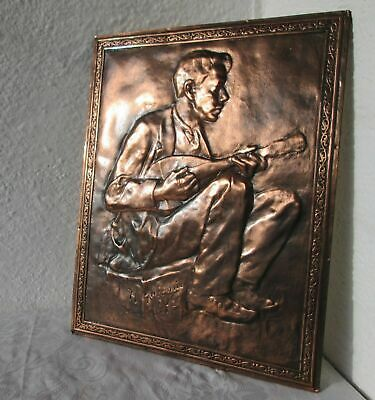 """& ...  16"""" vintage embossed Castle Knight sword shield  WALL copper  plaque RARE"""