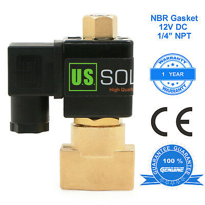 """U.S. Solid 1/4"""" Brass Electric Solenoid Valve 12V DC Normally Open Air Water Oil"""