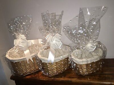 Make Your Own Hamper Kit 3 Sizes Oval Highback Basket Bow & Cellophane Xmas Gift
