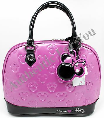 Disney Loungefly Purple Minnie Loves Mickey Embossed Bowling Bag Satchel Purse