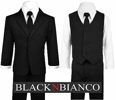 Baby Boys Toddler and Infants Ring Bearer Black Suit with Long Neck Tie