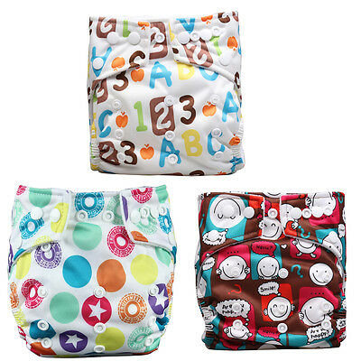 Unisex Baby 3 Pcs Reusable Washable Pocket Baby Cloth Diaper Nappy+ 3 Inserts