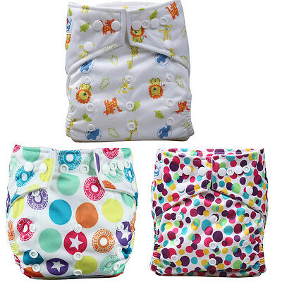 Baby Girl 3 Pcs Reusable Washable Pocket Baby Cloth Diaper Nappy+ 3 Inserts