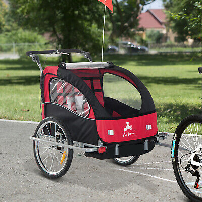 Aosom 3in1 Double Baby Bike Trailer Child Bicycle Stroller Jogger - Black/Red
