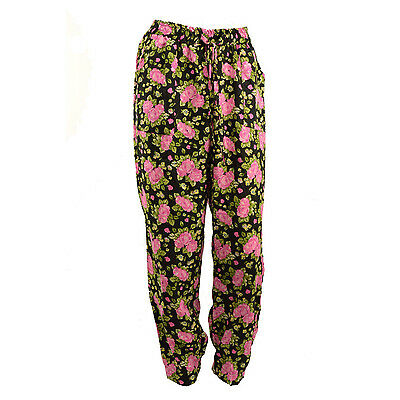 Womens Black Floral Light Weight Two Pocket Trouser