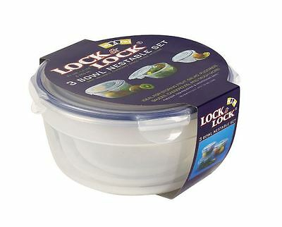 Lock & Lock HSM946S1 Food Storage Containers 3 Bowl Nestable Set