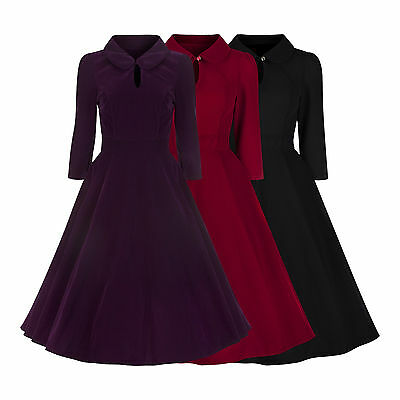 Crop Sleeve 50's Vintage Velvet Flared Party Cocktail Bridesmaid Tea Dress 8-18