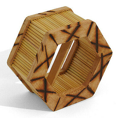 Hexagonal Straw & Wood Shaker African Fair Trade Percussion Shaking Instrument