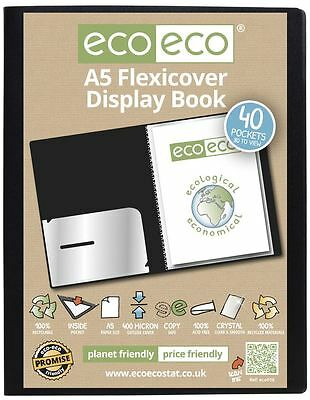 eco-eco A5 100% Recycled 40 Pocket / 80 View Black Flexicover Display Book