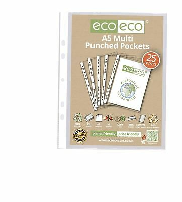 eco-eco A5 100% Recycled Smooth Glass Clear Punched Plastic Pockets x 25