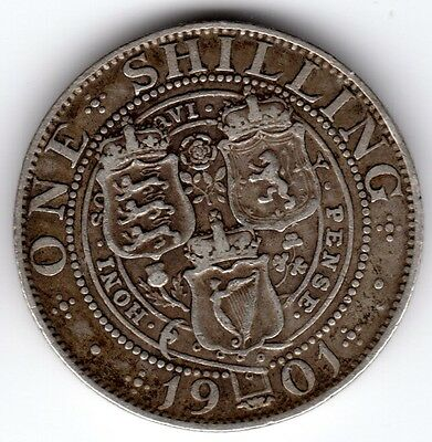 1901 12d 1s Silver ONE SHILLING twelve pence Queen Victoria Old Head