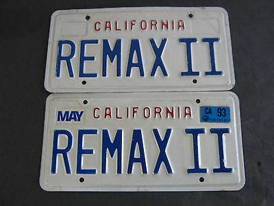 "Vintage California License Plates Personalized Vanity ""remax Ii"" Remax Two"
