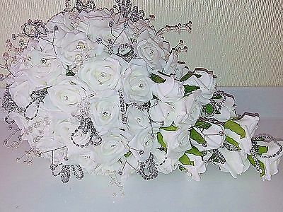 White Rose Bling Diamante Teardrop Wedding Bouquet With Crystal